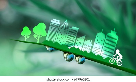 Ecology concept ;green city with tree and bicycle in Paper Cut Style, concept art, Illustration mixed with photograph