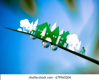 Ecology concept ;green town with tree and bicycle in Paper Cut Style, concept art, Illustration mixed with photograph