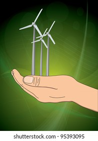 ecology concept with hand which give wind power station. illustration