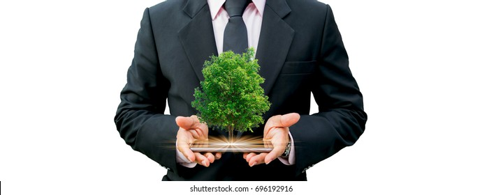 Ecology concept human hands holding big plant tree on with background world environment day