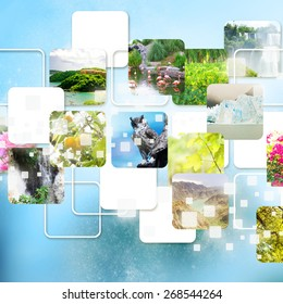 Ecology concept, planet with nature pictures
