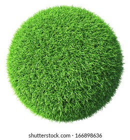 Ecology eco conservation nature creative concept - green grass sphere isolated on white background