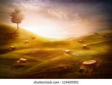 Ecology & environment design - Forest destruction. Environment concept with cut trees in the meadow with one left tree on the hill.