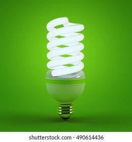 Ecology environment and saving energy, fluorescent light bulb concept of successful business. Energy saving solutions. Efficiency symbol. 3D high quality rendering.