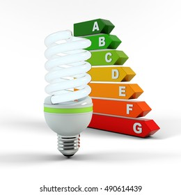 Ecology environment and saving energy, fluorescent light bulb concept of successful business. Energy performance scale. Energy saving solutions. Efficiency symbol. 3D high quality rendering.