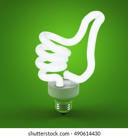 Ecology environment and saving energy, light bulb concept of successful business. Thumb up sign gesture hand lamp bulb. Energy saving solutions. Efficiency symbol. 3D high quality rendering.