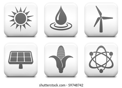 Ecology Icons on Square Black and White Button Collection Original Illustration