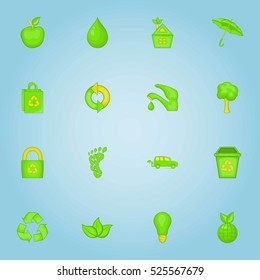 Ecology icons set. Cartoon illustration of 16 ecology  icons for web