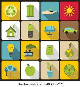 Ecology icons set in flat style. Environmental, recycling, renewable energy, nature elements set collection  illustration