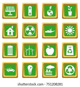 Ecology icons set in green color isolated  illustration for web and any design