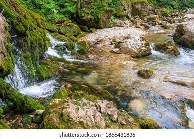 Ecology and nature. The source of clean drinking spring water among stone rocks and moist fresh green moss