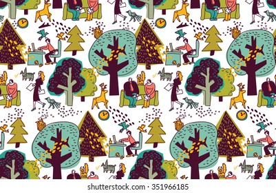 Ecology  office business space with nature. Business people work in nature seamless pattern. Color  illustration.