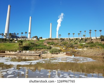 ecology pollution by an industrial israeli factory Orot Rabin power station and the chemically polluted Hadera River beneath