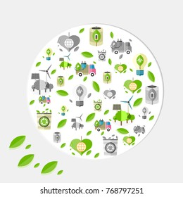 Ecology poster with small green and grey icons of energy saving and recycling with leaves all over in big circle  illustrations.