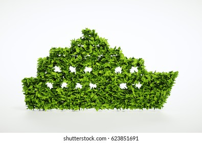 Ecology ship concept. 3D illustration of a green ship isolated on white.