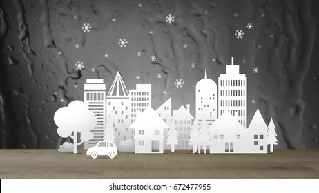 Ecology winter City in Paper Cut Style over Water Abstract Background,sepia tone, concept art, Illustration mixed with Photo.