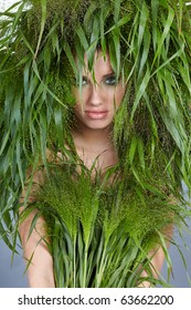 Ecology woman, green concept