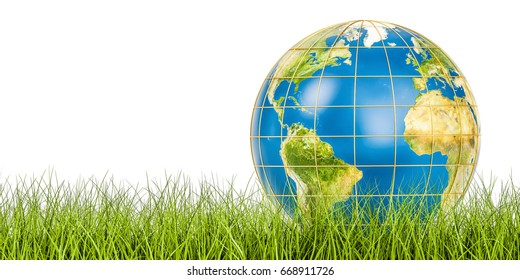 Ecology world concept, Earth globe on the green grass. 3D rendering isolated on white background, Elements of this image furnished by NASA
