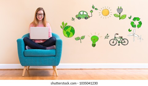 Ecology with young woman using her laptop in a chair