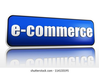 e-commerce 3d blue block like banner with white text