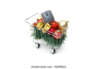 E-commerce Christmas shopping time - Side view on white background