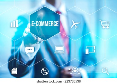 Ecommerce concept man selecting virtual interface