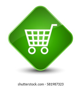 Ecommerce icon isolated on special green diamond button abstract illustration