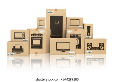 E-commerce, internet online shopping and delivery concept. Household kitchen appliances and home technics in boxes isolated on white. 3d illustration.