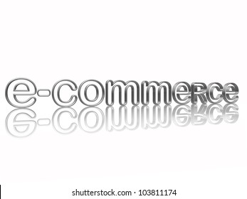 e-commerce isolated 3d silver text with reflection