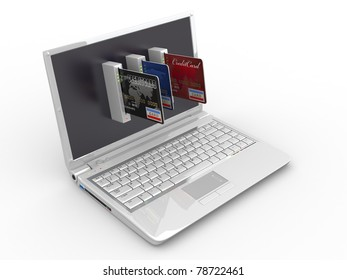E-commerce. Laptop and credit card on white isolated background. 3d