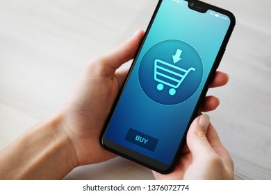Ecommerce Online shopping on mobile phone screen.