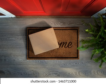 E-commerce purchase delivered to the front door. Overhead view. Add your own label