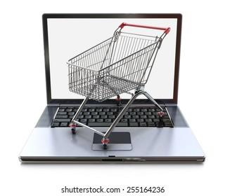 E-commerce. Shopping cart on laptop. Conceptual image