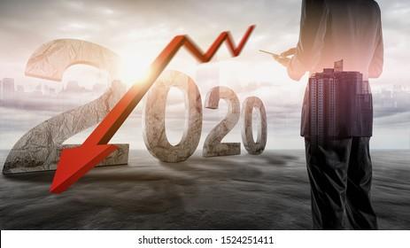 Die Wirtschaftskrise 2020. Die roten Pfeile fallen auf den Boden und deuten auf die wirtschaftliche Rezession an, die 2020 eintreten wird.