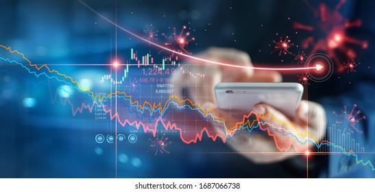 Wirtschaftskrise, Geschäftsmann mit Handy-Analyse Verkaufsdaten und ökonomischen Graphen, die aufgrund der Korona-Virus-Krise fällt, Covid-19, Börsenkrach verursacht.