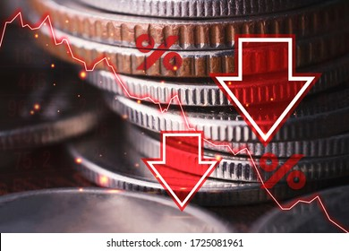 Economic crisis, currency recession, decline In the world of investment, And stock falls in a bad situation, the concept of a stock market collapse or the global financial crisis.