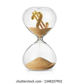 Economic crisis of money loss concept a dolar symbol turning in to sand in a hourglass