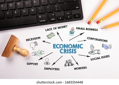 Economic Crisis. Recession, Lack Of Money, Social Issues and Support concept. Chart with keywords and icons. Computer keyboard, pencils and white stamp