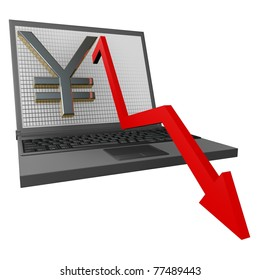 Economic Crisis shown with a red arrow graph on a laptop
