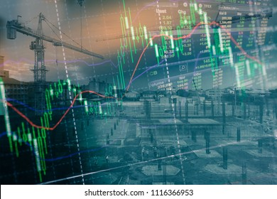 economic growth of construction with workers working and concept Stock market or forex trading graph and candlestick chart suitable for financial investment concept, Background for Economy con, ECN