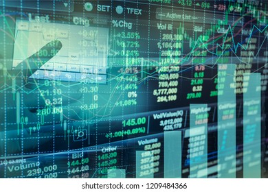 economic growth of construction with workers working and concept Stock market or forex trading graph and candlestick chart suitable for financial investment concept, Background for Economy con