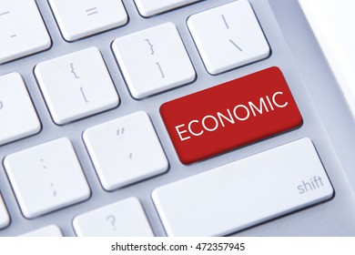Economic word in red keyboard buttons
