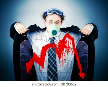 Economical crisis concept. Crazy businessman in protective mask with bloody graph.