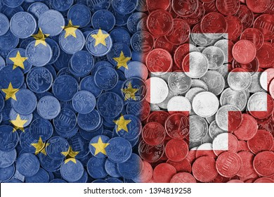 Economical relationship between EU European union and Switzerland international trade of Europe, Switzerland, international trading, economics concept, investments, flags set on coin euros background