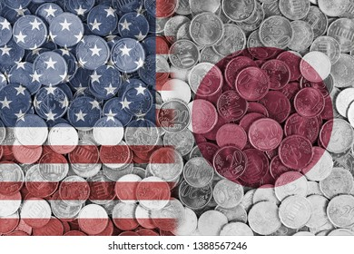 Economical relationship between united states of America and Japan international trade of USA US, Japan, international trading, economics concept, investments, flags set on coin euros background