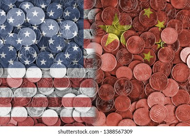 Economical relationship between united states of America and China international trade of USA US, China, international trading, economics concept, investments, flags set on coin euros background