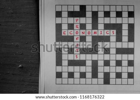 Economics Profits Written Red Solutions Newspaper Stock Photo Edit