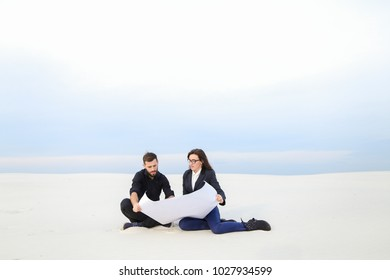 Economists brother and sister decide to start business, relatives planning shopping center. Bearded guy in black shirt trousers and fair-haired girl in suit white blouse smiling communicatin