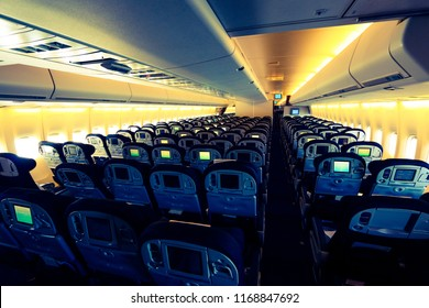 Economy Class Section of the Passenger Cabin of a Jumbo Jet used for Hajj and Umrah Flights