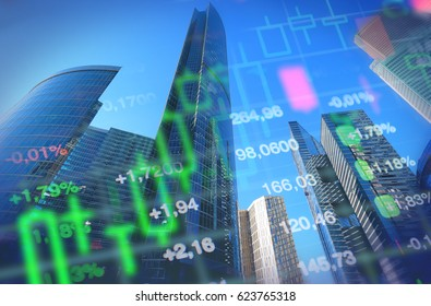 Economy concept collage, office buildings and skyscrapers at background, stock market charts and data. Blue background for economy and  financial themes.